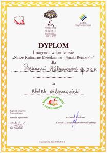 Dyplom - I nagroda - Chleb Wilamowicki