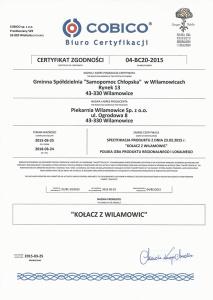 Certyfikat Zgodności - Kołacz Wilamowicki