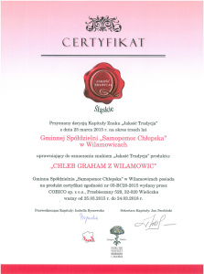 Certyfikat - Chleb Graham z Wilamowic