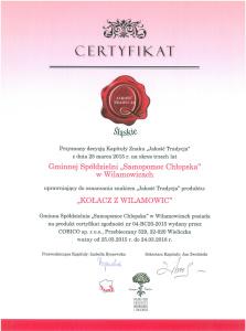 Certyfikat - Kołacz z Wilamowic