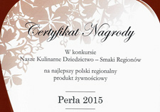 Certyfikat-Nagroda Perła 2015